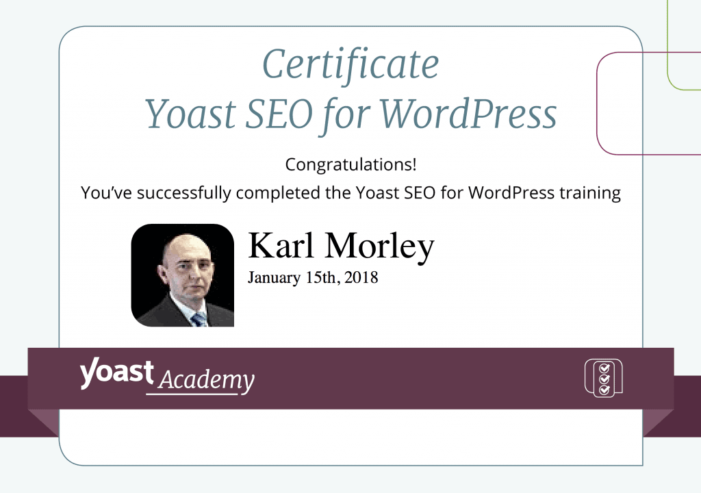 Yoast SEO plugin training certificate for SME Seo Agency