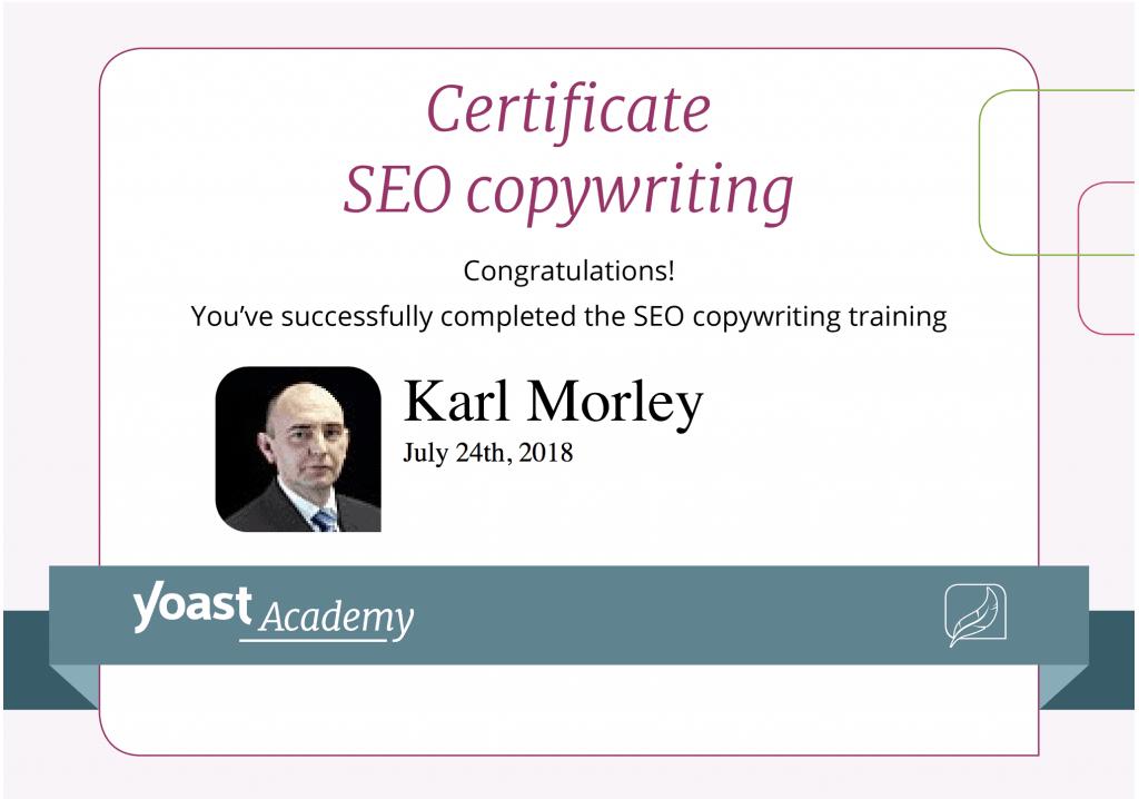 Yoast SEO copywriting certification for SME SEO Agency