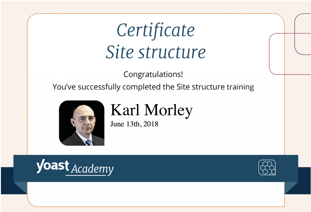 Yoast Site structure certificate for SME SEO Agency